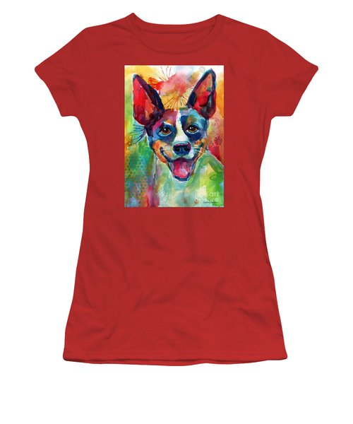 Whimsical Rat Terrier Dog Painting Women's T-Shirt (Athletic Fit)