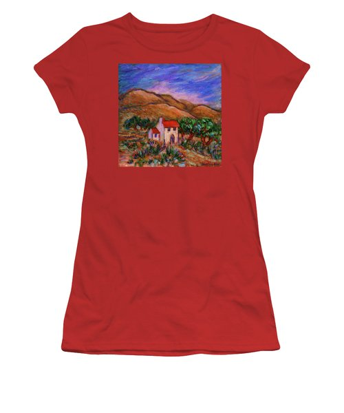 Women's T-Shirt (Athletic Fit) featuring the painting White House In An Oak Grove by Xueling Zou