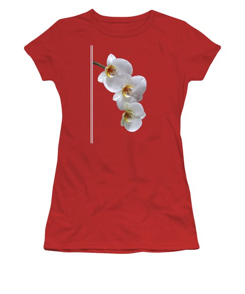 White Orchids On Terracotta Vdertical Women's T-Shirt (Junior Cut) by Gill Billington
