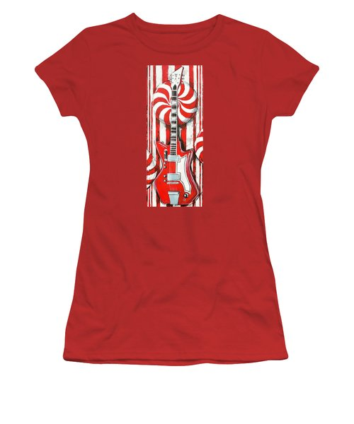 White Stripes Guitar Women's T-Shirt (Athletic Fit)