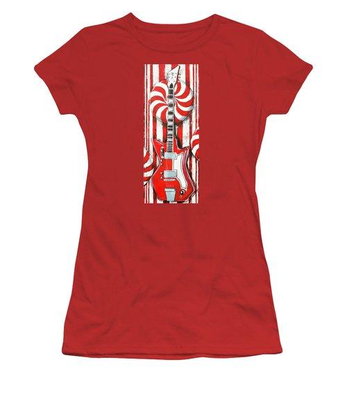 White Stripes Guitar Women's T-Shirt (Athletic Fit)