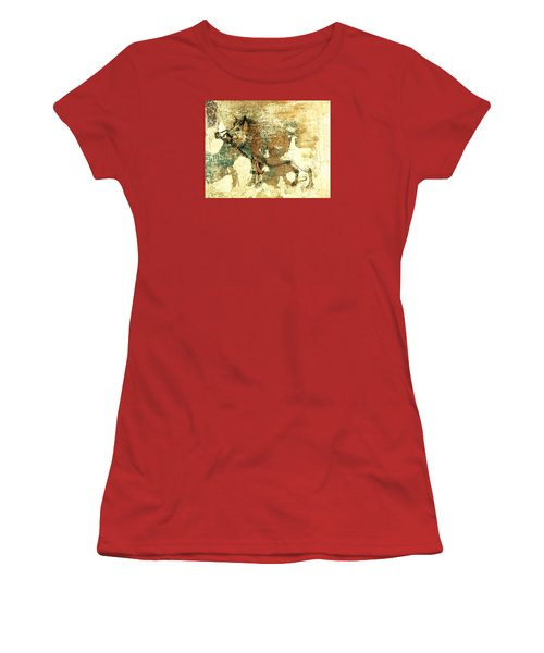 Women's T-Shirt (Junior Cut) featuring the drawing Wild Boar Cave Painting 1 by Larry Campbell