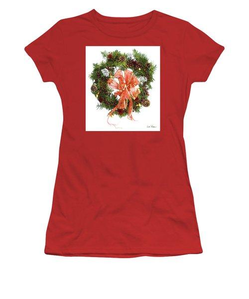 Women's T-Shirt (Junior Cut) featuring the digital art Wreath With Bow by Lise Winne