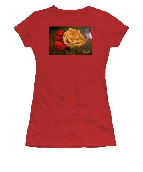 Women's T-Shirt (Junior Cut) featuring the photograph Yellow Rose And Chinese Lanterns by Diana Mary Sharpton