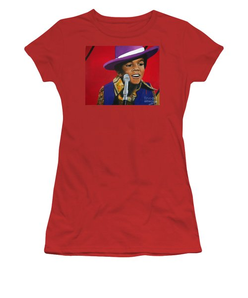 Young Michael Jackson Singing Women's T-Shirt (Junior Cut) by Chelle Brantley