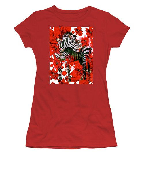 Zebra And Flowers Women's T-Shirt (Athletic Fit)