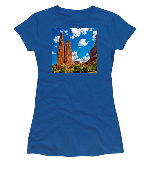 Canyon De Chelly Spider Rock Women's T-Shirt (Junior Cut) by Bob and Nadine Johnston