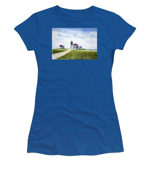 Watch Hill Ri Lighthouse Women's T-Shirt (Junior Cut) by Joan Hartenstein