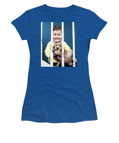1950s Smiling Little Boy Peeking Women's T-Shirt