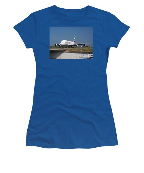 Emirates Airbus A380 Women's T-Shirt (Junior Cut) by Paul Fearn