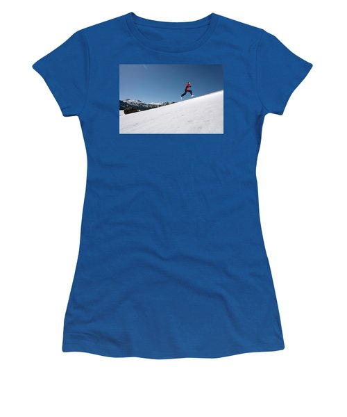A Man Runs Alone On A Late Winter Day Women's T-Shirt