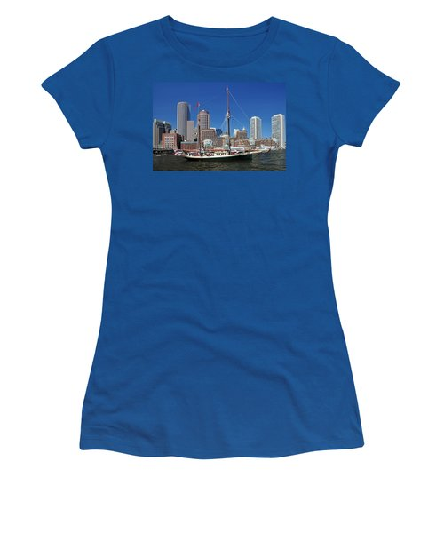 Women's T-Shirt (Junior Cut) featuring the photograph A Ship In Boston Harbor by Mitchell Grosky