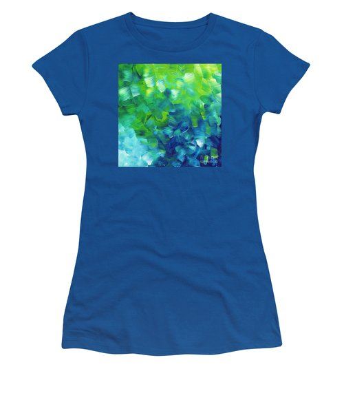 Abstract Art Original Textured Soothing Painting Sea Of Whimsy I By Madart Women's T-Shirt