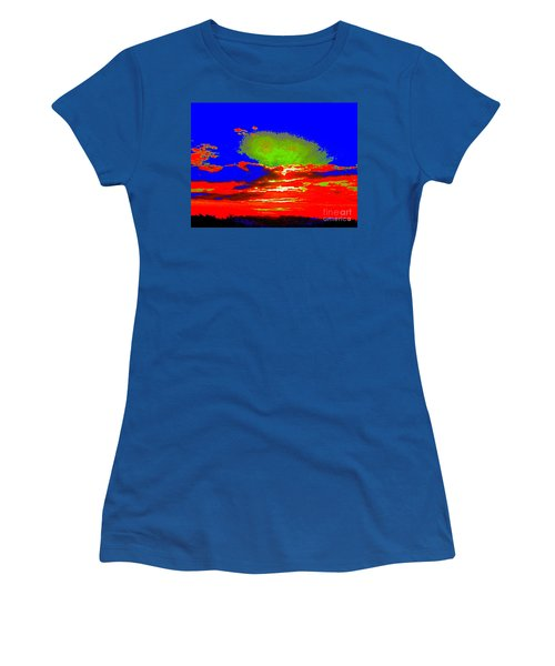 Abstract Sunset Orange Blue Green And So On Women's T-Shirt (Athletic Fit)