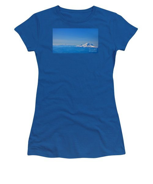 Aerial View Of Mount Rainier Volcano Art Prints Women's T-Shirt (Junior Cut) by Valerie Garner