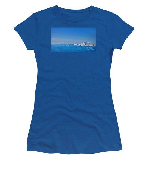 Aerial View Of Mount Rainier Volcano Art Prints Women's T-Shirt