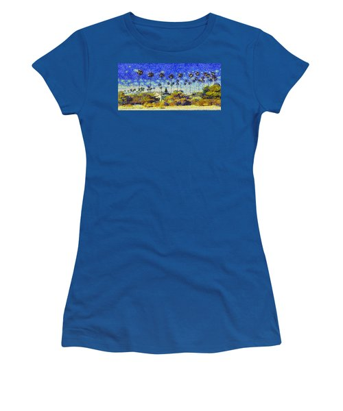 Women's T-Shirt (Junior Cut) featuring the painting Alameda Famous Burbank Palm Trees by Linda Weinstock