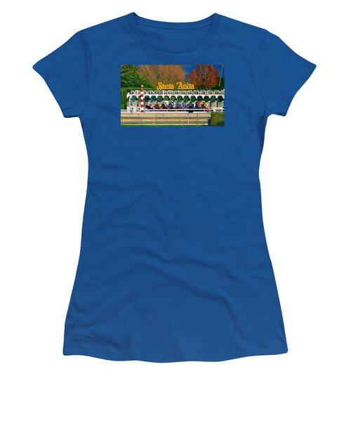 And They're Off At Santa Anita Women's T-Shirt (Athletic Fit)
