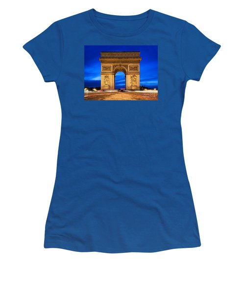 Arc De Triomphe At Night Paris France  Women's T-Shirt (Athletic Fit)