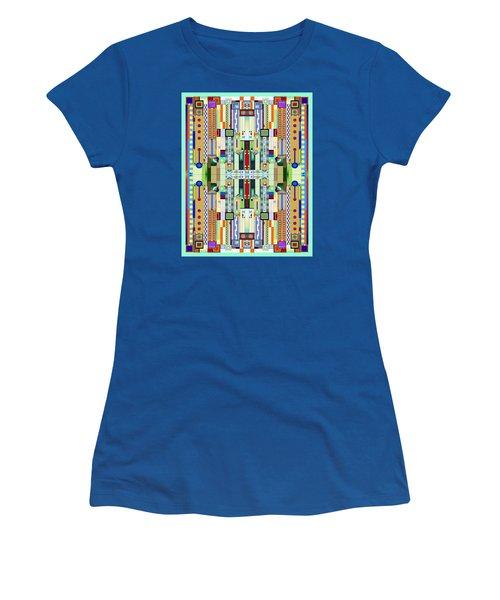 Art Deco Stained Glass 2 Women's T-Shirt (Junior Cut) by Ellen Henneke
