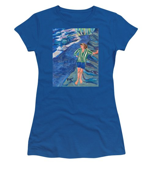 Women's T-Shirt (Junior Cut) featuring the painting At Wintergreen Park Canajoharie 1957 by Betty Pieper