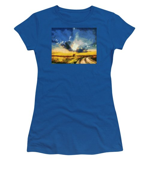 Women's T-Shirt (Junior Cut) featuring the painting Back To Goodbye by Joe Misrasi