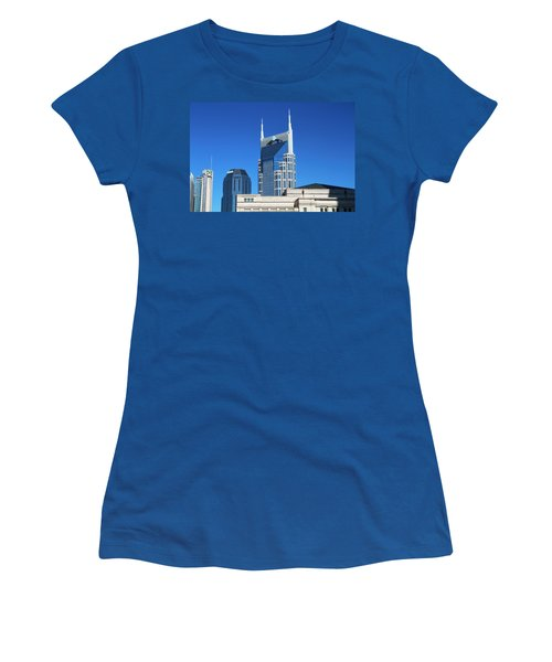 Batman Building And Nashville Skyline Women's T-Shirt (Junior Cut) by Dan Sproul