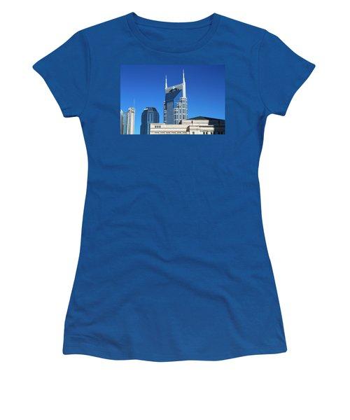 Batman Building And Nashville Skyline Women's T-Shirt (Athletic Fit)