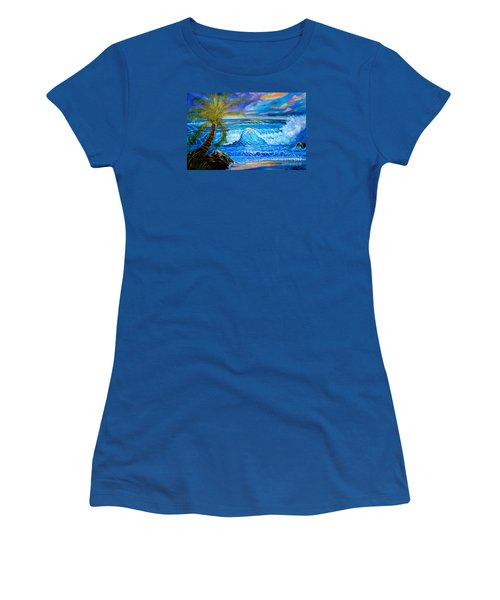 Women's T-Shirt (Junior Cut) featuring the painting Beach Sunset In Hawaii by Jenny Lee