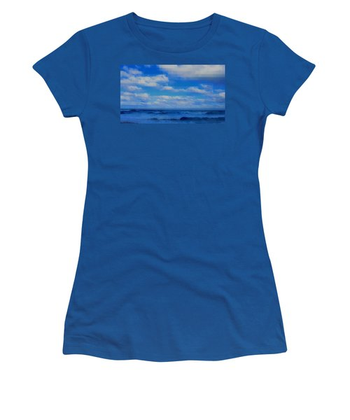 Women's T-Shirt (Junior Cut) featuring the painting Beach Through Artificial Eyes by David Mckinney