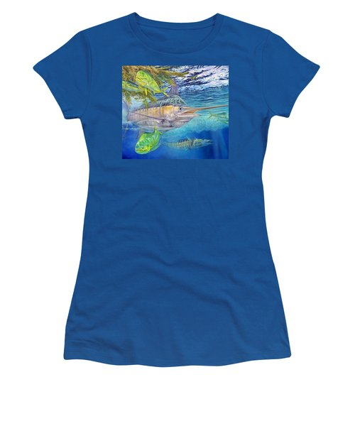 Big Blue Hunting In The Weeds Women's T-Shirt (Athletic Fit)