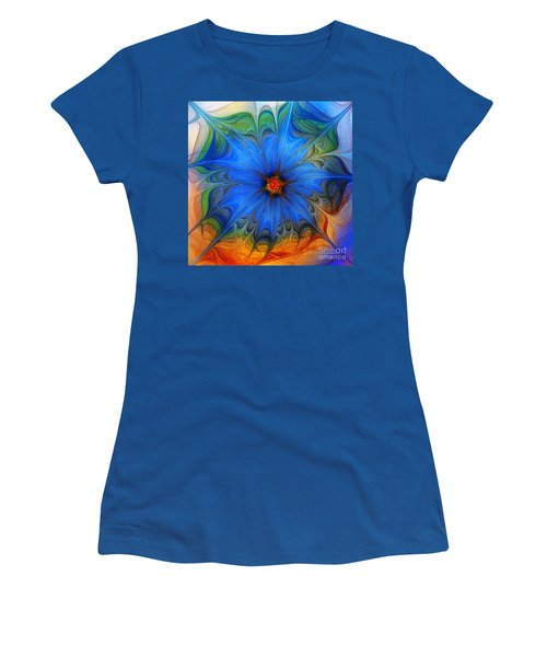Blue Flower Dressed For Summer Women's T-Shirt (Junior Cut) by Karin Kuhlmann