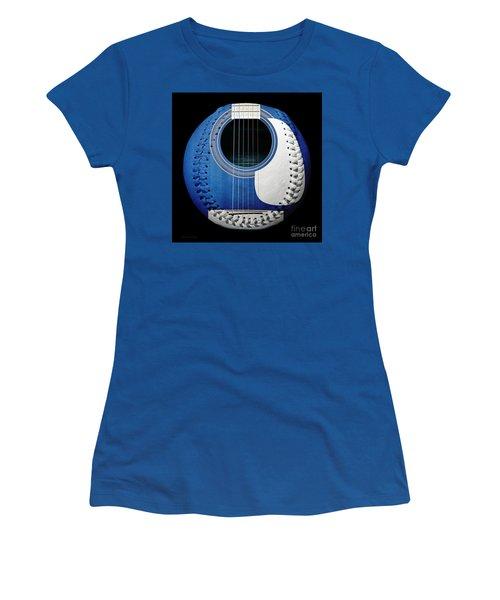 Blue Guitar Baseball White Laces Square Women's T-Shirt