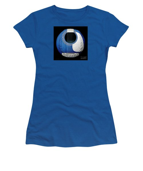 Women's T-Shirt (Athletic Fit) featuring the photograph Blue Guitar Baseball White Laces Square by Andee Design