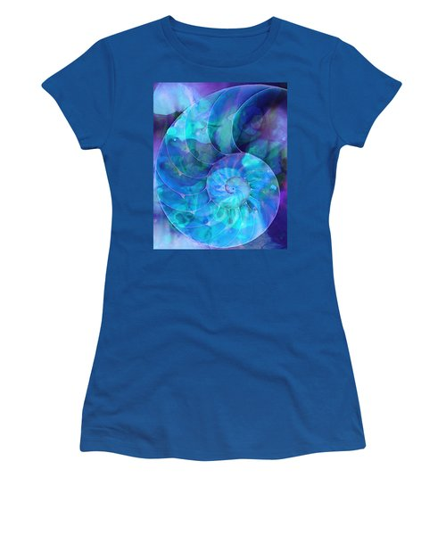 Blue Nautilus Shell By Sharon Cummings Women's T-Shirt