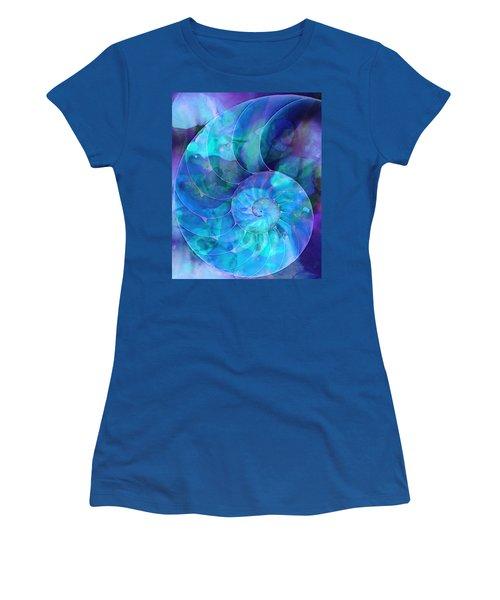 Blue Nautilus Shell By Sharon Cummings Women's T-Shirt