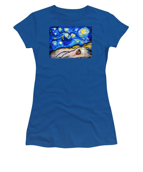 Blue Night Women's T-Shirt (Junior Cut) by Ramona Matei