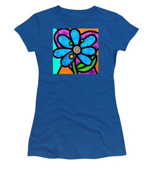 Blue Pinwheel Daisy Women's T-Shirt (Athletic Fit)