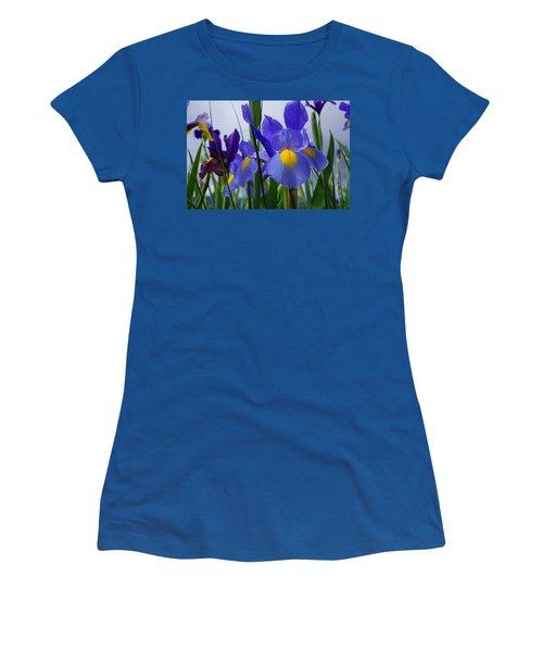 Blue Purple Iris Flowers Art Prints Women's T-Shirt
