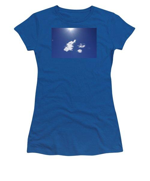 Blue Sky Sun Shining Art Prints Sun Rays White Clouds Women's T-Shirt