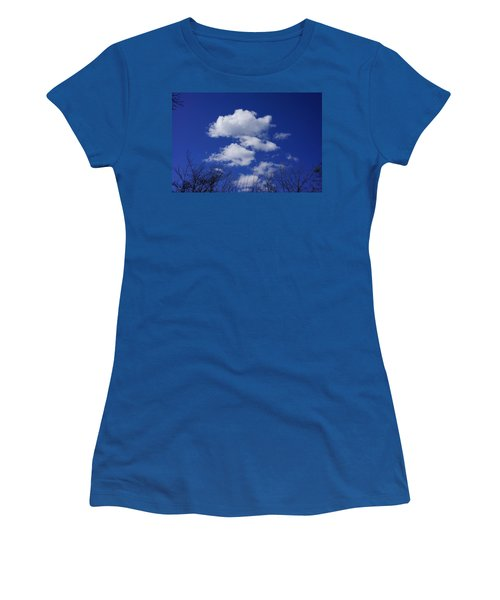 Blue Sky White Fluffy Clouds Art Prints Tree Branches Women's T-Shirt