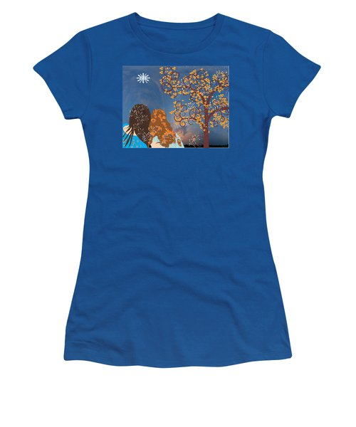 Blue Swirl Girls Women's T-Shirt (Athletic Fit)