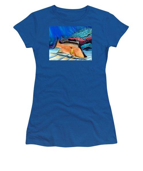 Bull Hogfish Women's T-Shirt (Junior Cut) by Steve Ozment