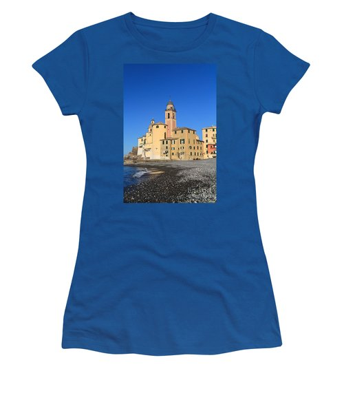 Women's T-Shirt (Junior Cut) featuring the photograph Camogli Seaside And Church by Antonio Scarpi