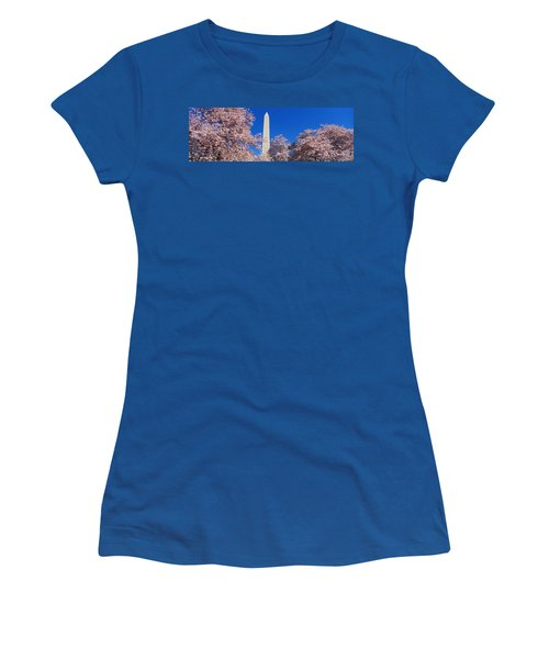 Cherry Blossoms Washington Monument Women's T-Shirt (Junior Cut) by Panoramic Images