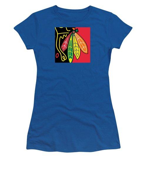 Chicago Blackhawks Women's T-Shirt (Junior Cut) by Tony Rubino