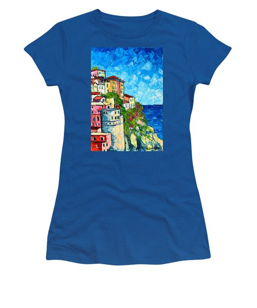 Cinque Terre Italy Manarola Painting Detail 3 Women's T-Shirt
