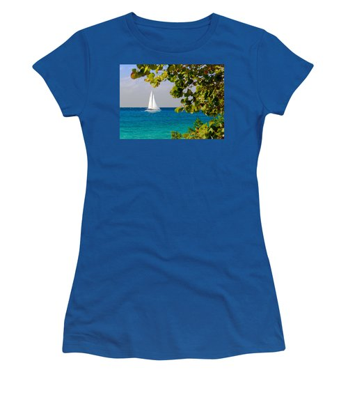 Women's T-Shirt (Junior Cut) featuring the photograph Cozumel Sailboat by Mitchell R Grosky