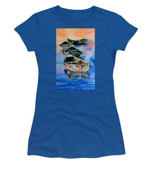 Women's T-Shirt (Athletic Fit) featuring the painting Down East Dories At Dawn by Hanne Lore Koehler