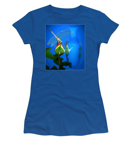 Women's T-Shirt (Junior Cut) featuring the photograph Dragonfly And Bud On Blue by Joyce Dickens